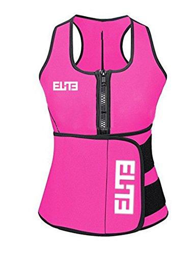Elite Neoprene Suana Sweat Suit Tank Top Adjustable Waist Trainer Belt Vest   Size Chart Available   (Pink, XLarge) (Belt Neoprene Waist)