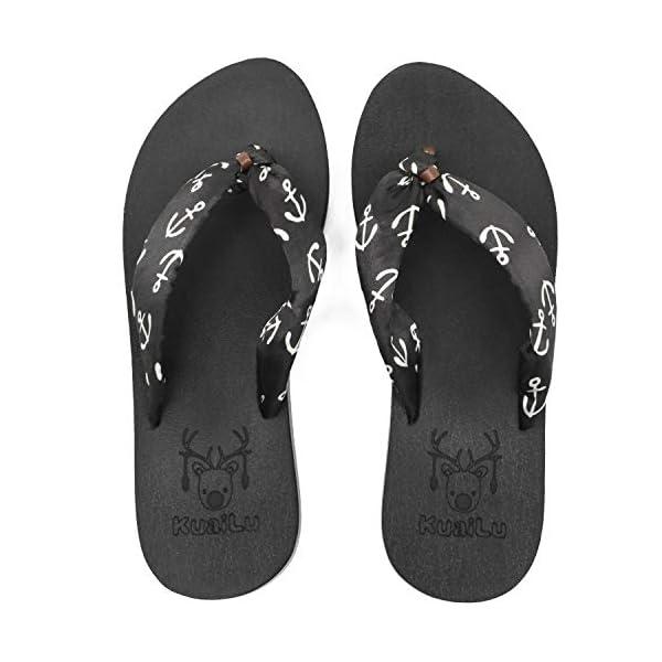 KUAILU Women's Yoga Foam Flip Flops with Arch Support Thong Sandals Non-Slip