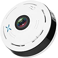 SamHity 360 Degree Fisheye Panoramic IP Camera 2.0 Megapixel 1080P Wireless Wifi 2.4GHZ Security Camera Super Wide Angle Support IR Night Motion Detection Keep Your Pet & Home Safe