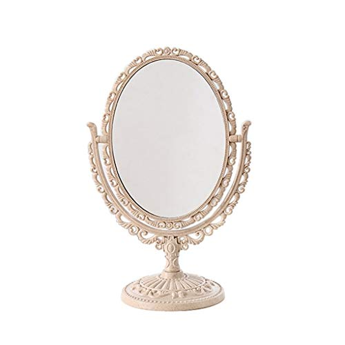 WUDHAO Countertop Vanity Mirrors Small Portable Makeup Mirror 360° Rotation Double Sided 2X Magnifying Makeup Mirror with A Non-Slip Pedestal Stand Beige (Color : Beige, Size : 12.5x29cm)
