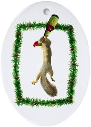 Amazon Com Yilooom Holiday Squirrel With Beer Oval 3 Flat Porcelain Ceramic Ornament Christmas Holiday Love Anniversary Newlyweds Keepsake Home Kitchen