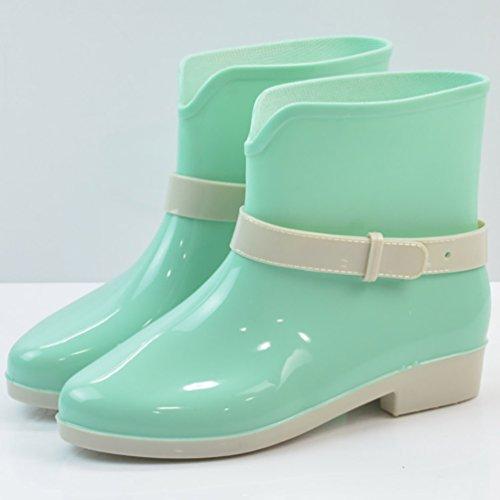 LvRao Mujeres Boots Impermeables Lindos Zapatos de Lluvia Nieve Botines Corto de Goma Botas Verde