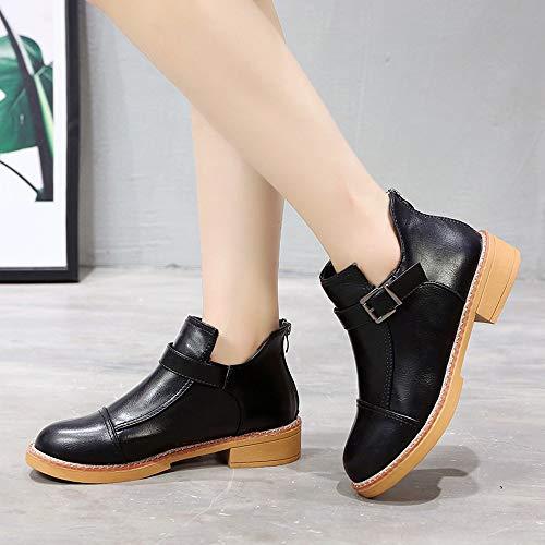Toe Sonnena Plateau Stiefel Stiefel Sexy Boots Frauen Schuhe Casual Schuhe Rund Damen Elegant Martin Party Booties Damenschuhe Schwarz Lederstiefel Flach Dick Stiefeletten Klassische xvXXrEaq