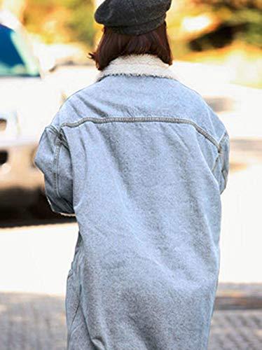 Libero Outerwear Maniche Addensare Eleganti Streetwear Invernali Women Bavero Giovane Donna Blau Jeans Lunga Fashion Relaxed Tempo Giacca Hot Giubotto Giaccone Lunghe qO0T4
