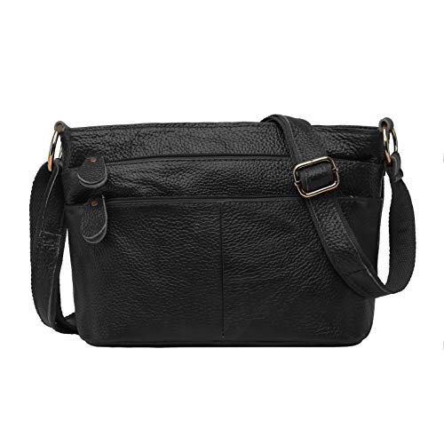 Soft Genuine Leather Crossbody Purse Women's Triple Zipper Organizer Small Shoulder Bag (black)