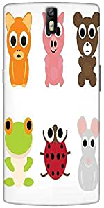 Snoogg Animal Characters Set Designer Protective Back Case Cover For One Plus...