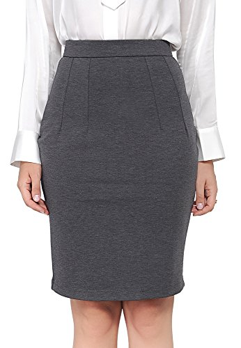 Marycrafts Women's Work Office Business Pencil Skirt L Gray 3 by Marycrafts