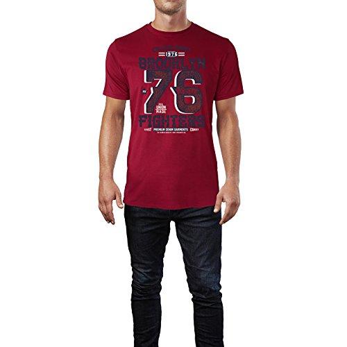 Sinus Art ® Herren T Shirt College Sport 1976 ( Independence_Red ) Crewneck Tee with Frontartwork