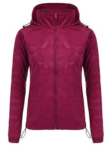 FISOUL Women's Lightweight Jacket Packable Running Windbreaker Active Outdoor Hooded Waterproof Raincoat S-XXL(Red,Medium) ()
