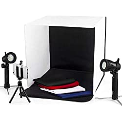 "Photo Light Box Photography ESDDI 16""x16""/40x40cm Photo Studio Booth Portable Table Top Lighting Shooting Tent Kit Foldable Cube with 2x20 LED Lights 4 Color Backdrop for Jewellery Product Advertising"