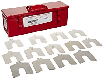"""Stainless Steel Slotted Shim Mini Assortment, Size B, 3"""" x 3"""" (Pack of 130)"""