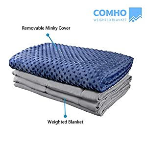 COMHO Premium Adult Weighted Blanket & Removable Cover 60″x80″ 15 lbs 100% Cotton/Minky Navy Blue