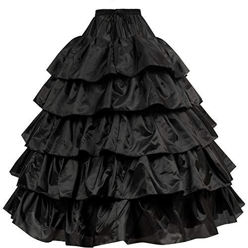 (LONGBLE Women's 5 Slip Ruffles 4 Hoops Bridal Petticoat Gown Slips Underskirt for Wedding Evening Party Dresses ... (Black))