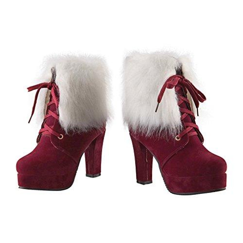 ENMAYER Frauen-Veloursleder-Pelzplattform runde Zehe schnüren sich oben Block-hohe Absätze Partei-Kleid-Knöchel-Aufladungen Rot