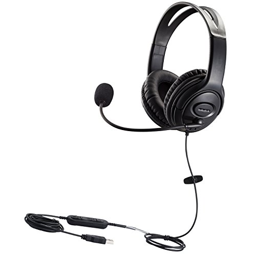 USB Headset with Microphone Dual Ear Computer Headphone with Speech Recognition Volume Control for Skype Chat Call Center Softphones Online Courses Gaming ()