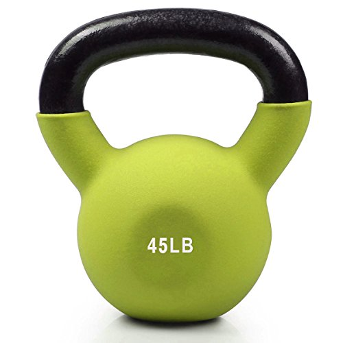 UPC 661757273903, RitFit Neoprene Coated Solid Cast Iron Kettlebell - Great for Full Body Workout, Cross-Training, Weight Loss & Strength Training (5/10/15/20/25/30/35 LB) (45LB(Lime Green))