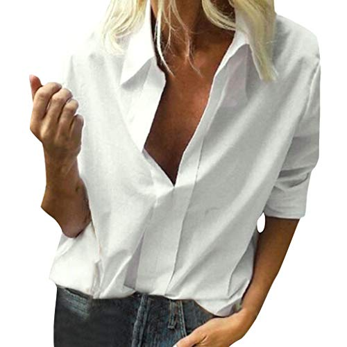 Price comparison product image Office Shirts for Women for Work Plus SizeLYNStar Casual Polyester Long Sleeve Blouses Shirts Loose Flowy Tops S-5Xl White