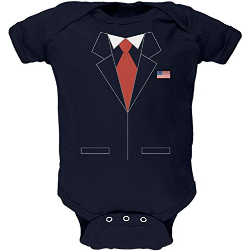 Old Glory Halloween President Costume Republican Soft Baby One Piece Navy 0-3 M ()