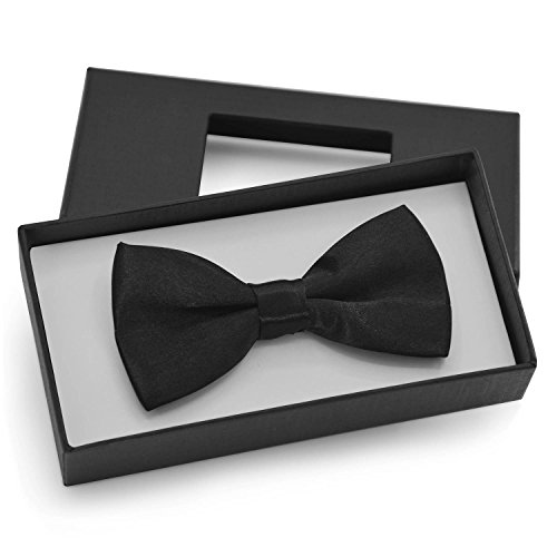 Brooben Boys Kids Bowtie Pre tied Banded Satin Adjustable Bow Tie BT1 (Boys Black Satin)