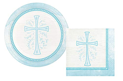 Inspirational Religious Party Supplies: Bundle Includes Dessert Plates and Napkins for 16 People in a Divinity Cross Design (Blue) (Religious Napkins Crosses)