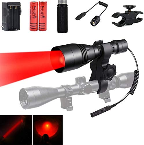 WindFire WF-396 Tactical Red LED Hunting Flashlight Zoom Focus Adjustable Torch for Coyote Hog Hunting Light Remote Cable Switch Scope Mount Extension Tube Powered by 2x 18650 Rechargeable Batteries