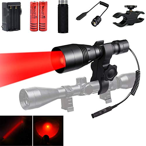 WindFire WF-396 Tactical Red LED Hunting Flashlight Zoom Focus Adjustable Torch for Coyote Hog Hunting Light + Remote Cable Switch Scope Mount Extension Tube Powered by 2x 18650 Rechargeable ()
