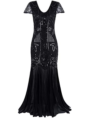 Vijiv 1920s Long Prom Dresses Gown Beads Sequin Art Deco Evening Flapper Dress, Black, Xlarge
