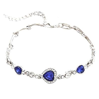 Nice VIASA Women Ocean Blue Crystal Rhinestone Heart Bangle free shipping
