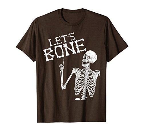 Mens Let's Bone Skeleton Funny Halloween Costume Shirt For Adults 3XL Brown ()