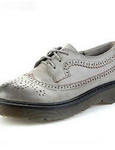 Uk4 Eu39 Semicuero Gray Oxfords Casual Zapatos Uk6 Mujer us6 Redonda Punta Black Eu36 us8 Gris Cn36 Negro Zq De Plataforma Cn39 gpHOqq8w