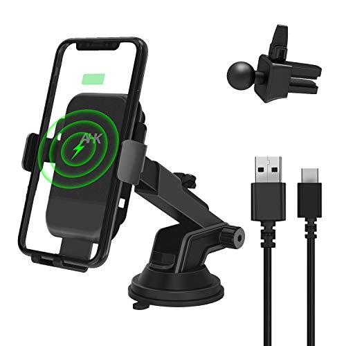 Windshield Dashboard Air Vent Phone Holder Compatible with iPhone Xs Max XR 8 Plus One Touch Automatic Clamping Qi 10W Fast Charging AHK Wireless Car Charger Mount Black Samsung S10 S9 S8,etc