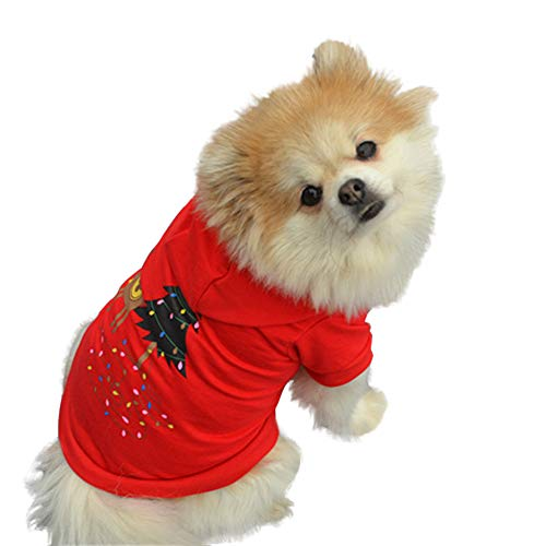 Pet Dog Christmas Clothes Laimeng_World Cute Pet Dog T Shirts Clothing Small Puppy Animal Printing Costume ()