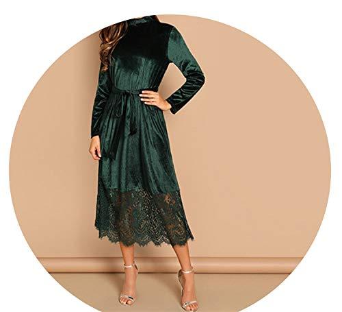 Green Waist Belted Mock-Neck Velvet Dress Long Sleeve Lace Hem Solid Dress Casual Dresses,Green,XL