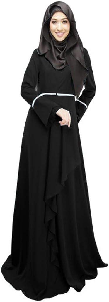 Pervobs Womens Muslim Loose Pure Color Robe Clothing Ruffles Floor-Length Abaya Islamic Arab Kaftan Cardigan Dress