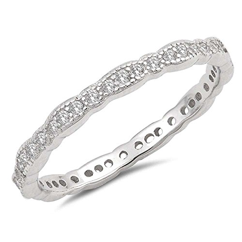 - Sterling Silver Antique Style Stackable Wedding Band Ring Sizes 6