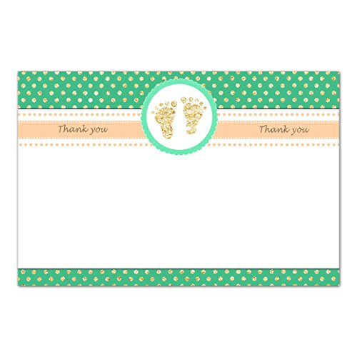 30 Blank Thank You Cards Notes Baby Shower Footprints Green Gold + 30 White Envelopes Baby Feet Flat Card