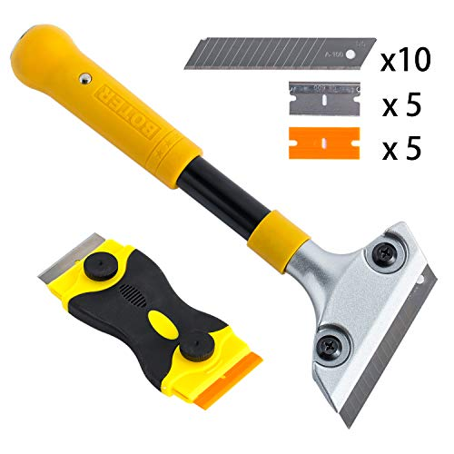 Wallpaper Painting - Heavy Duty 4-inch Razor Blade Scraper with Long-Handle, Wallpaper Painting Stripping Tools, Cleaning Glass Wall Scraper, Floor Tile Adhesive Removal, with Mini Razor Scraper Tool.