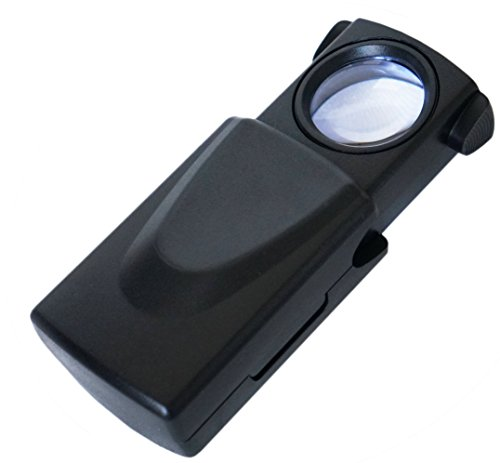 iMagniphy 20x Mini Pocket Magnifier with LED Light - Batteries Included, Best LED Illuminated Pull Out Jewellers Loupe - An Absolute Must for All Jewellers (Print Battery Cart)