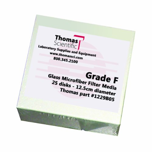 Thomas F1250-4 Borosilicate Glass Microfiber Filter, 0.7 Micron, Medium Flow, Grade F, 12.5cm Diameter (Pack of 25) by Thomas