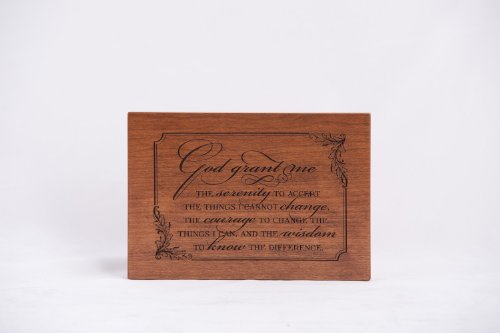 Wood Memorial Sympathy Plaque Gift Serenity Prayer Dark Cherry (Cherry Finish Wood Plaque)