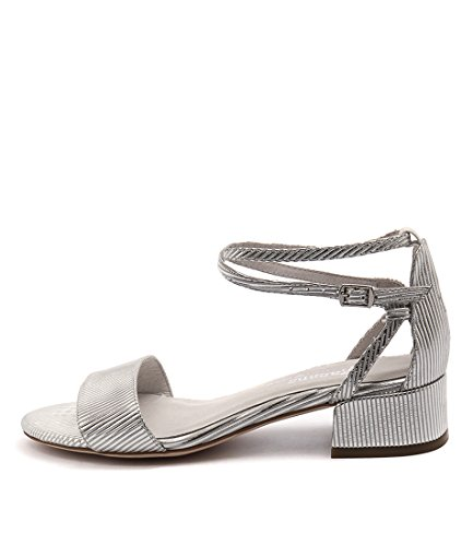 Shoes STRIPE LEATHER Womens White WHITE amp;Silver Heels amp;SILVER Kaftan GAMINS Womens qYzfO1