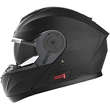 Motorcycle Modular Full Face Helmet DOT Approved - YEMA YM-926 Motorbike Moped Street Bike Racing Crash Helmet with Sun Visor for Adult, Men and Women - Matte Black,Large