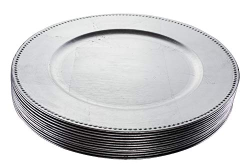 Lacquer Charger - Simply Home USA 13'' Plate Charger Sliver Beaded Round Premium Finest Quality, Pack Of 12 …
