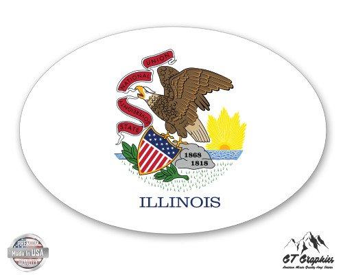 Illinois State Flag Oval - 3