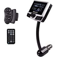 JINSERTA 2.4 Inch LCD Auto Wireless Bluetooth MP3 Player FM Transmitter Radio Adapter Car Kit with USB/SD/Card Reader Slot and 2 Remote Control