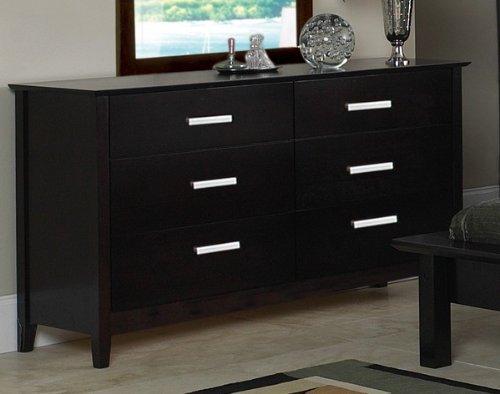 Contemporary Style Cappuccino Finish Dresser