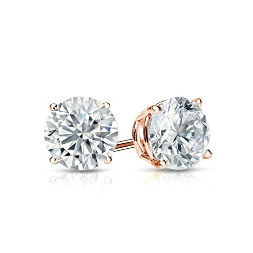 Clara Pucci 1.90 CT Round Brilliant Cut Solitaire Stud Earrings in 14k Rose Gold Screw Back