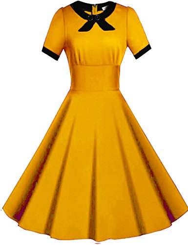 [Viwenni Women's Scoop Neck Vintage Casual 1950'S Retro Bridesmaid Dress (Large, Yellow)] (1950 Dress)