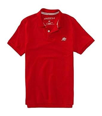 Aeropostale men 39 s a87 solid logo piqu polo shirt xs red for Amazon logo polo shirts