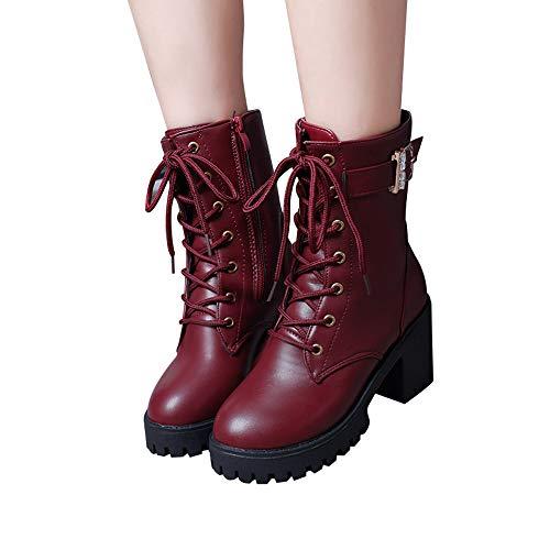High Schnürer Martin Kurzstiefel Sonnena Rot Stiefeletten Einfarbig Rot Plateau Stiefel Schwarz Oxford Schuhe Mittlere Outdoor Damenstiefel Boots Stiefel Heels Lederstiefel Damen Mode q6wATXzA